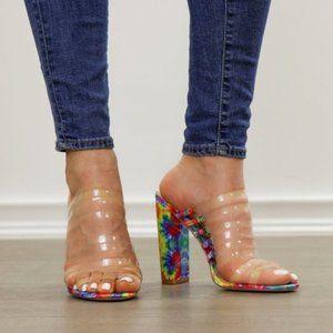 Tie Dye Clear Strappy Chunky Heel Open Toe Sandals